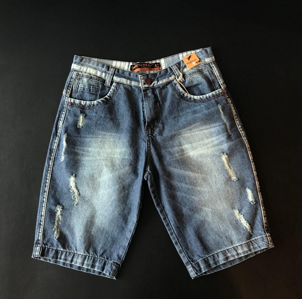 Bermuda jeans detalhes sem lycra