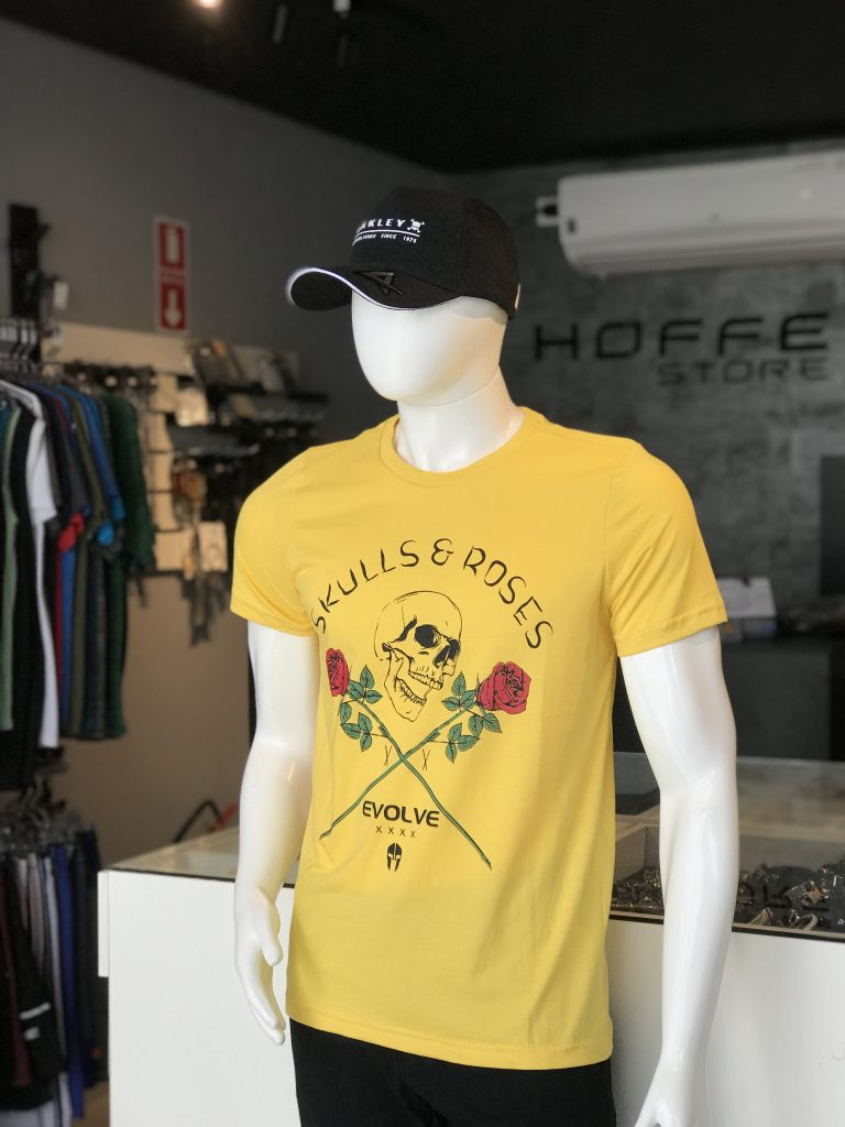 Camisa amarela estampa caveira Evolve