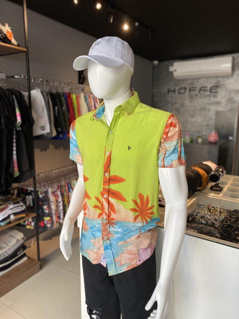 Camisa de botão em cores neon