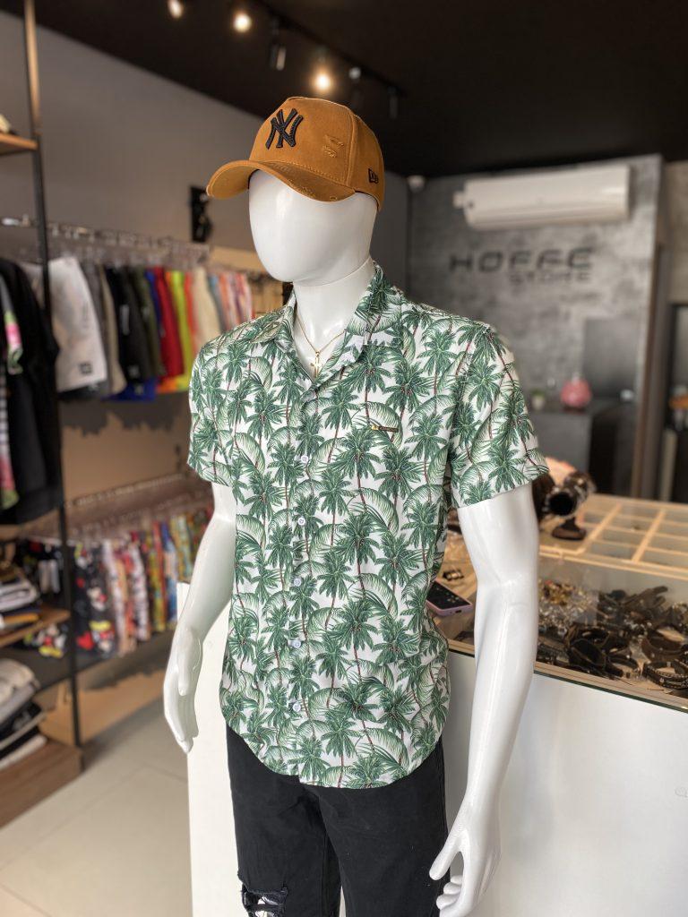 camisa de botão estampa verão