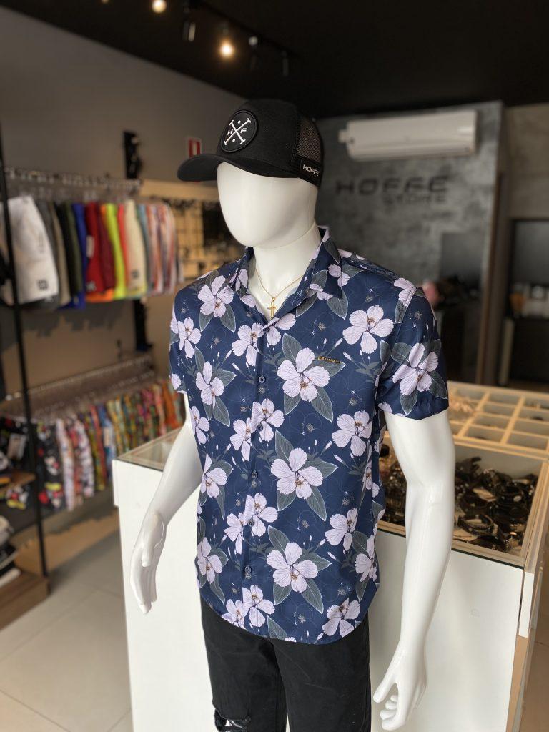 Camisa de botão floral