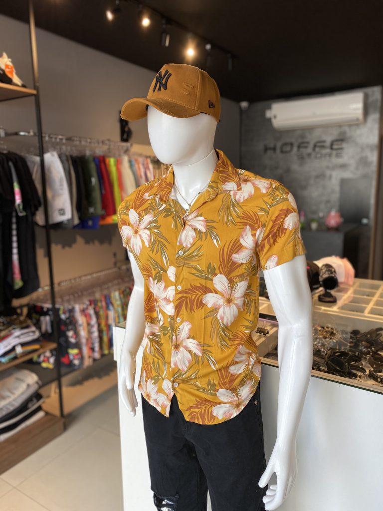 Camisa estampada floral de botão