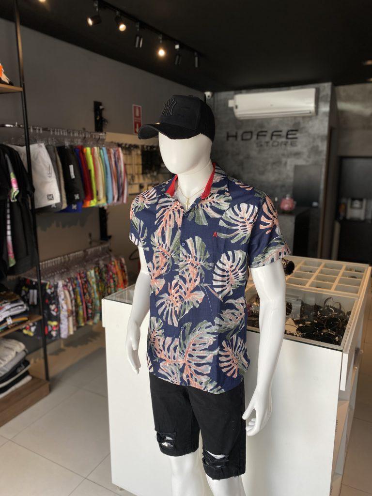 Camisa de botão estampada