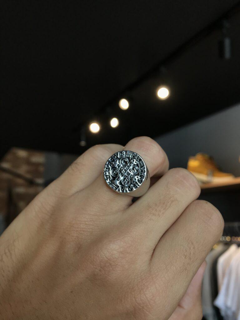 Anel São Bento liso em aço inoxidável prata