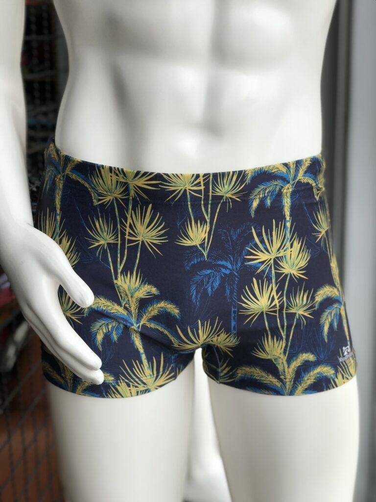 Sunga Box Rio Ondas Azul marinho com coqueiros amarelo