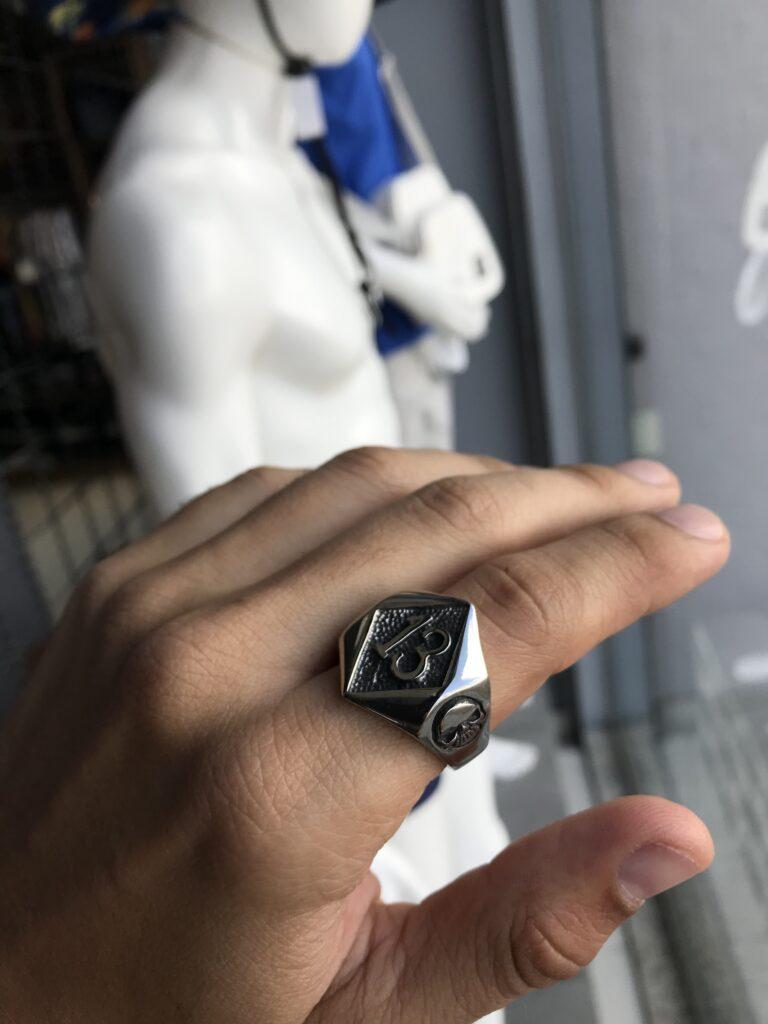 Anel 13 em aço inoxidável prata