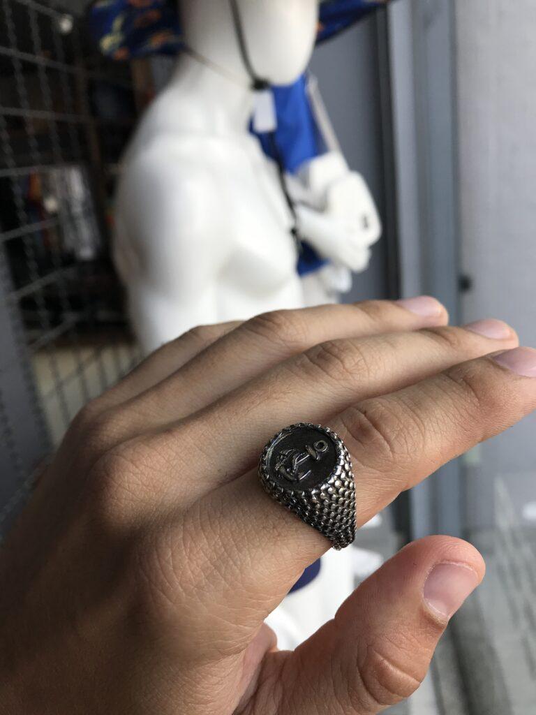 Anel Âncora texturizado em aço inoxidável prata
